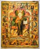 Παλαιό ρωσικό ορθόδοξο εικονίδιο ST John ο θεολόγος με Scen Στοκ εικόνα με δικαίωμα ελεύθερης χρήσης