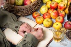 Παλαιό σημειωματάριο με το καλάθι των μήλων και τα μπουκάλια του μηλίτη Στοκ Εικόνες