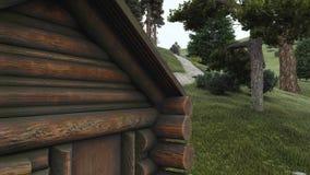 Παλαιό σπίτι κούτσουρων παραμυθιού δασικό στενό επάνω 4K ελεύθερη απεικόνιση δικαιώματος