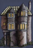 Παλαιό σπίτι στη νύχτα Στοκ Εικόνα