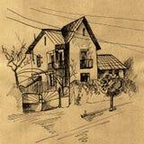 Παλαιό σπιτιών μελάνι τεχνών σκίτσων αναδρομικό Στοκ φωτογραφία με δικαίωμα ελεύθερης χρήσης