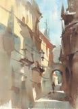 Παλαιό τοπίο watercolor πόλης αλεών Ένα σκίτσο backstreet ελεύθερη απεικόνιση δικαιώματος