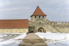 Παλαιό τουρκικό φρούριο στην πόλη Tighina το χειμώνα στοκ εικόνα