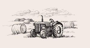 Παλαιό τρακτέρ με μια αγροτική σκηνή διανυσματική απεικόνιση