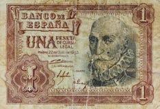 Παλαιό τραπεζογραμμάτιο μιας πεσέτας στοκ εικόνες