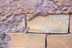 Παλαιό υπόβαθρο τουβλότοιχος, σύσταση Τραχιά πρόσοψη με την επιφάνεια Brickwall Στοκ Φωτογραφίες