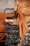 Παλαιό χέρι γλυπτών του Βούδα στο Si Thammar Wat Phra Mahathat Nakhon Στοκ Φωτογραφία
