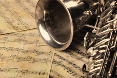 παλαιό saxophone σημειώσεων Στοκ εικόνες με δικαίωμα ελεύθερης χρήσης
