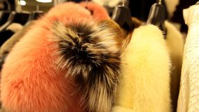Παλτό γουνών στο κατάστημα απόθεμα βίντεο