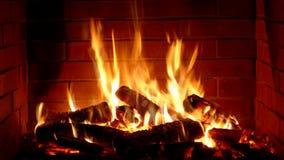Πανέμορφη ικανοποιώντας στενή επάνω άποψη σχετικά με το ξύλινο κάψιμο αργά με την πορτοκαλιά φλόγα πυρκαγιάς στην άνετη ατμόσφαιρ φιλμ μικρού μήκους