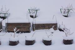 Πανέμορφη χειμερινή άποψη του εξωτερικού ενός ιδιωτικού κήπου στα πλαστικά δοχεία Ανάπτυξη φραουλών στο περιλαίμιο παλετών που κα στοκ εικόνες με δικαίωμα ελεύθερης χρήσης