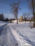 Πανέμορφος άσπρος χιονώδης χειμώνας στη μικρή πόλη στοκ φωτογραφία με δικαίωμα ελεύθερης χρήσης