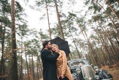 Πανέμορφος η τοποθέτηση νυφών και νεόνυμφων στο δάσος πεύκων κοντά στο αναδρομικό αυτοκίνητο στη ημέρα γάμου τους Στοκ φωτογραφίες με δικαίωμα ελεύθερης χρήσης