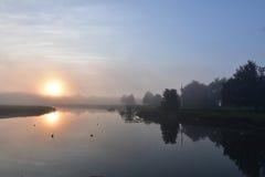 Πανέμορφος κοιτάξτε του ήλιου απεικονίζοντας σε ένα ομιχλώδες πρωί Στοκ Εικόνες
