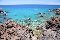 Πανέμορφος τυρκουάζ δύσκολος κόλπος σε Playa de San Juan Tenerife Στοκ Εικόνα