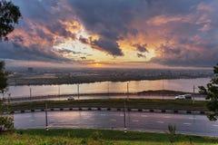 Πανέμορφο ηλιοβασίλεμα σε Nizhny Novgorod Στοκ φωτογραφία με δικαίωμα ελεύθερης χρήσης