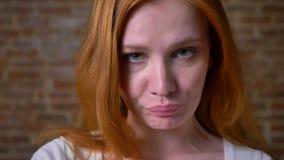 Πανέμορφο καλλιτεχνικό καυκάσιο θηλυκό, πορτρέτο του συμπαθητικού προσώπου, στοχαστικοί τρόποι, που στέκεται στο υπόβαθρο τούβλου απόθεμα βίντεο
