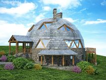 Πανέμορφο σπίτι θόλων του μέλλοντος Πράσινο σχέδιο, καινοτομία, αρχιτεκτονική απεικόνιση αποθεμάτων