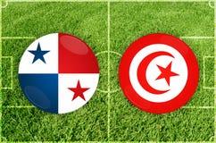 Παναμάς εναντίον του αγώνα ποδοσφαίρου της Τυνησίας Στοκ εικόνα με δικαίωμα ελεύθερης χρήσης