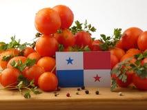Παναμαία σημαία σε μια ξύλινη επιτροπή με τις ντομάτες που απομονώνεται σε ένα wh Στοκ Εικόνες