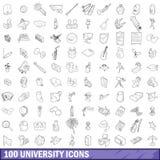 100 πανεπιστημιακά εικονίδια καθορισμένα, περιγράφουν το ύφος διανυσματική απεικόνιση