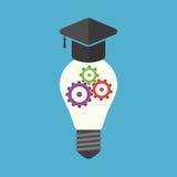 Πανεπιστημιακό καπέλο με το lightbulb διανυσματική απεικόνιση