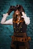 Πανκ κορίτσι ατμού με διοφθαλμικό Στοκ Εικόνες