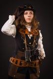 Πανκ κορίτσι ατμού με διοφθαλμικό Στοκ Εικόνα