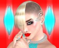 Πανκ κορίτσι με Mohawk hairstyle στο ζωηρόχρωμο αφηρημένο υπόβαθρο Στοκ φωτογραφία με δικαίωμα ελεύθερης χρήσης