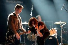 Πανκ ορχήστρα ροκ Iceage στη συναυλία στον ήχο 2015 Primavera σκηνών Apolo Στοκ Φωτογραφία