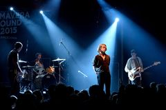 Πανκ ορχήστρα ροκ Iceage στη συναυλία στο υγιές 2015 σκηνών Apolo φεστιβάλ Primavera Στοκ εικόνα με δικαίωμα ελεύθερης χρήσης