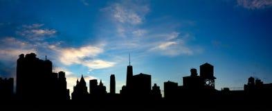 Πανοραμικά κτήρια οριζόντων πόλεων της Νέας Υόρκης Στοκ φωτογραφίες με δικαίωμα ελεύθερης χρήσης