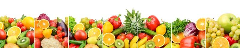 Πανοραμικά φρέσκα φρούτα και λαχανικά συλλογής που απομονώνονται στο whi Στοκ φωτογραφία με δικαίωμα ελεύθερης χρήσης
