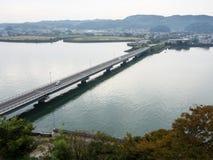 Πανοραμική άποψη από την κορυφή του κάστρου Kitsuki - νομαρχιακό διαμέρισμα του Oita, Ιαπωνία στοκ φωτογραφία με δικαίωμα ελεύθερης χρήσης