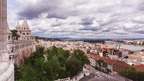 Πανοραμική άποψη από τον προμαχώνα του ψαρά στην πόλη της Βουδαπέστης, Ουγγαρία στοκ φωτογραφία