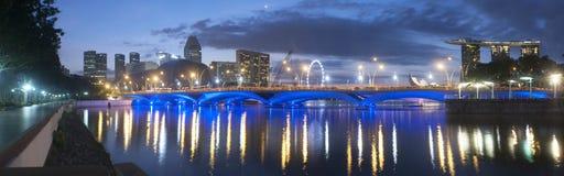 Πανοραμική άποψη μιας γέφυρας στη Σιγκαπούρη Στοκ Φωτογραφίες