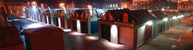 Πανοραμική άποψη νύχτας του κέντρου αγοράς πόλεων του Νόργουιτς Στοκ φωτογραφία με δικαίωμα ελεύθερης χρήσης