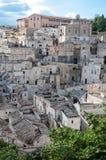 Πανοραμική άποψη οδών των κτηρίων στο αρχαίο Di $matera Sassi Στοκ εικόνες με δικαίωμα ελεύθερης χρήσης