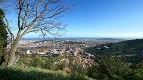 Πανοραμική άποψη πόλεων της Βαρκελώνης από Tibidabo απόθεμα βίντεο