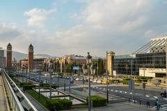 Πανοραμική άποψη πόλεων της Βαρκελώνης Στοκ Φωτογραφίες