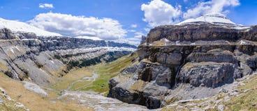 Πανοραμική άποψη στην κοιλάδα Ordesa, Αραγονία, Ισπανία Στοκ Εικόνα