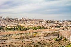 Πανοραμική άποψη στην παλαιά πόλη της Ιερουσαλήμ Στοκ εικόνα με δικαίωμα ελεύθερης χρήσης