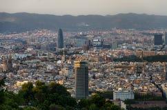 Πανοραμική άποψη σχετικά με τις θέσεις της Βαρκελώνης ενδιαφέροντος από το βουνό Montjuic, Ισπανία Στοκ εικόνες με δικαίωμα ελεύθερης χρήσης