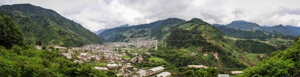 Πανοραμική άποψη σχετικά με Zunil, Quetzaltenango, Altiplano, Γουατεμάλα, Στοκ Εικόνες