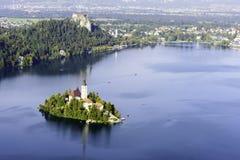 Πανοραμική άποψη της αιμορραγημένης λίμνης, Σλοβενία, Ευρώπη Στοκ εικόνα με δικαίωμα ελεύθερης χρήσης