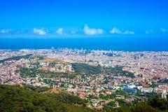 Πανοραμική άποψη της Βαρκελώνης από Tibidabo Στοκ Φωτογραφία