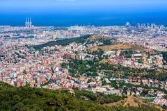Πανοραμική άποψη της Βαρκελώνης από Tibidabo Στοκ Εικόνες