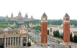 Πανοραμική άποψη της Βαρκελώνης, Ισπανία - Plaza de Espana, σχετικά με το εθνικό Μουσείο Τέχνης υποβάθρου Στοκ φωτογραφία με δικαίωμα ελεύθερης χρήσης