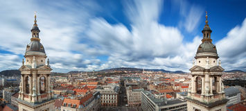 Πανοραμική άποψη της Βουδαπέστης από την κορυφή της βασιλικής StStephen, Ουγγαρία Στοκ Εικόνες