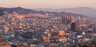 Πανοραμική άποψη της γραφικής εικονικής παράστασης πόλης της Βαρκελώνης, Ισπανία Στοκ φωτογραφία με δικαίωμα ελεύθερης χρήσης